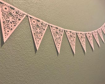 Pink Party Banner, Flowers and Butterflies, Decor, Party Supplies, Garland, Streamer, Sign, Bridal Shower, Girl's Baby Shower, Birthday