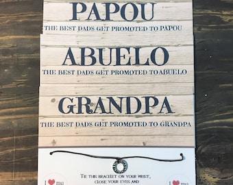 Grandpa wish bracelet.Papou wish bracelet.Abuelo wish bracelet.Fathers day card.Grandfather gift