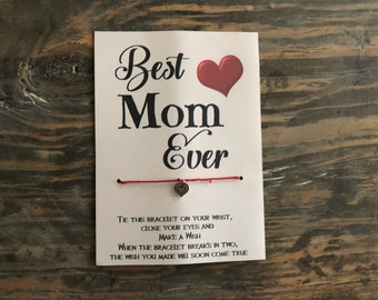 Best Mom ever wish bracelet.Mom wish bracelet.Mothers day wish bracelet.Heart wish bracelet.Mother wish bracelet.