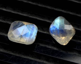 Natural Rainbow Moonstone Blue Flash fire Size 7x9 MM Approx 2 PCs Pair Faceted Checker Cushion Rainbow Code- HR30