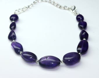 "Natural Brazil Amethyst Tumbles Strand Bracelet 62 Carats , 6"" Inches Strand, Size- 7x9 MM To 11x17 MM Approx"