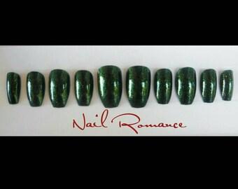 Metallic Green Glitter Short Coffin / Coffin Nails / Press On Nails / Fake Nails / Glue On Nails
