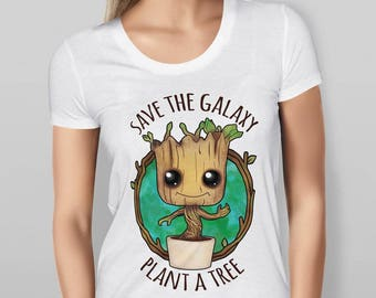 Womens Save the Galaxy Plant a Tree Guardians of the Galaxy Baby Groot  White Tshirt