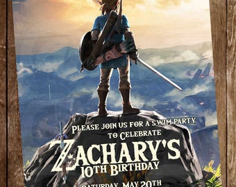 The legend of zelda Digital Party invitation customize invite birthday thank you card
