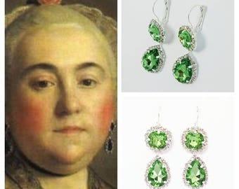 18th Century Crystal Earrings - Green Crystal Earrings- Victorian - Georgian Paste Earrings - Rococo