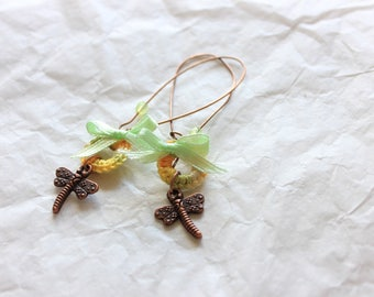 Yellow green Dragonfly earrings