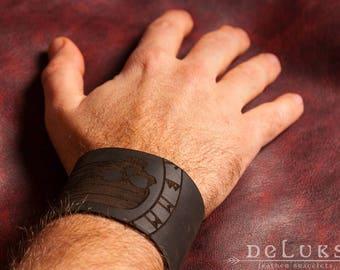 Leather Bracelet , Men's Leather Wristband,  Leather Bracelet Cuff, Men's Cuff Bracelet , mortal head Leather Bracelet mens  ,mortal head