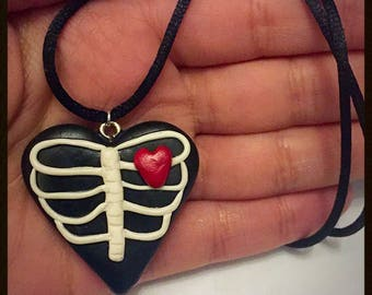 Polymer clay emo skull heart necklace