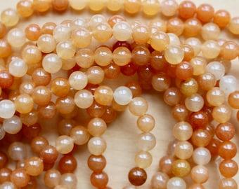 6mm Orange Aventurine beads, full strand, natural stone beads, round, 60035