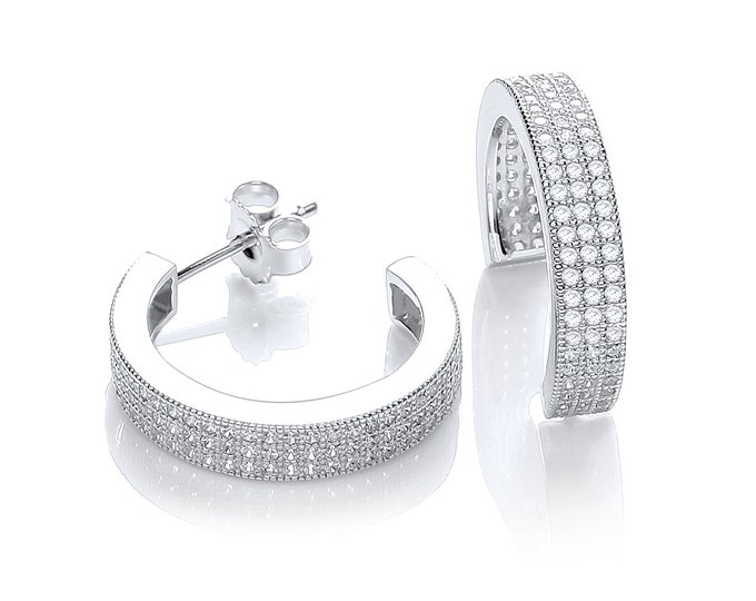 Sterling Silver 20mm Micro Pave 3 Row Cz Open Hoop Earrings