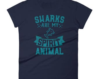 Sharks Are My Spirit Animal T-Shirt - Funny Shark Shirt - Gift for Shark Lovers