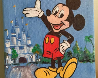 Mickey Mouse - Magic Kingdom Cinderella Castle - Cartoon 6x6 Acrylic on Canvas - Original Painting - Disney Inspired Artwork - Vintage Retro