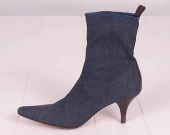 Denim Stretch Sock Boots || Enzo Angiolini Boots || Designer Ankle Boots