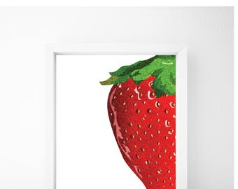 Strawberry Print, Food Art, Food Print, Kitchen Print, Kitchen Wall Art, Kitchen Wall Decor, Printable Wall Art