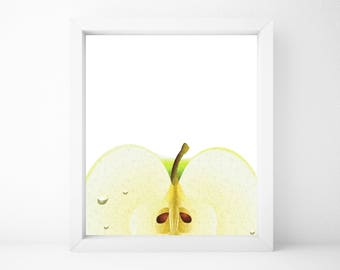 Apple Print, Food Art, Food Print, Kitchen Print, Kitchen Wall Art, Kitchen Wall Decor, Printable Wall Art