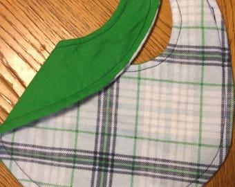 Navy/Green flannel bib