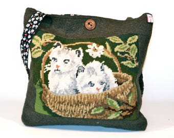 Vintage Tapestry Embroidery, cats in basket, on bag