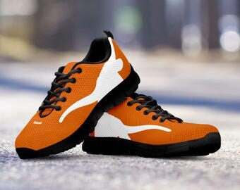 Texas Longhorns Football Fan Custom Black Running Shoes/Sneakers/Trainers - Ladies + Mens Sizes