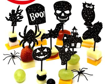 200 Halloween Party Supplies 10 Designs - 160 Halloween Cupcake toppers Halloween picks - 40 Halloween napkins