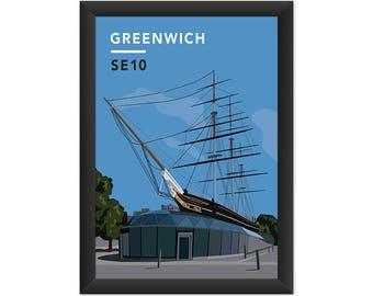 Greenwich Cutty Sark SE10 - Giclée Art Print - South London Poster