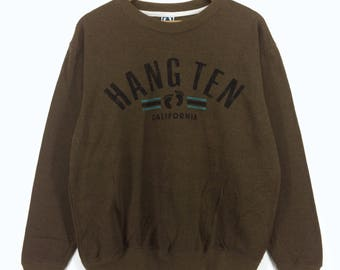 Vintage Hang Ten Sweatshirt | Hang Ten Spell Out | Hang Ten Big Logo | Retro Rap Tees Hip Hop Swag
