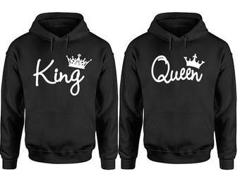 King And Queen Couple Hoodies, Couple Hoodies, Disney Couple Hoodies, Matching Couple Hoodies, King Queen Hoodies, Couple Sweater
