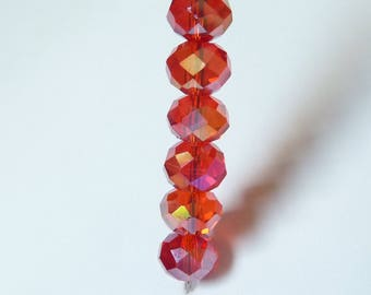 10 pearls 8mm iridescent red swarovski crystal