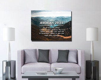 Jeremiah 29:11 #9 NIV 'For I Know the Plans I have for you' Christian Scripture Bible Verse Wall Art Canvas | Religious | Home Decor