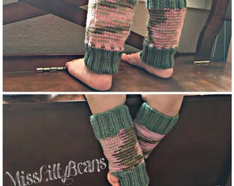 Toddler Pink/Green Camouflage Knit Leg Warmers
