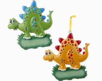 Dinosaur Personalized Christmas Ornament (green and orange) - Each Sold Separately