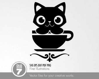 Coffee Cat #2 svg eps dxf pdf png