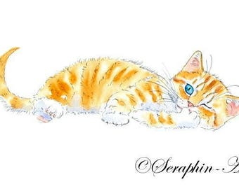 Playful Ginger Kitten Original Watercolor Painting