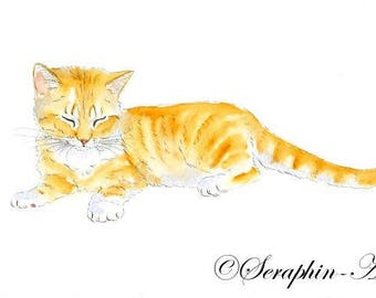 Cute Sleeping Ginger Kitten Original Watercolor Painting