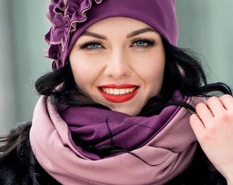 Lilac Set Hat and Infinity Scarf Large Wraparound Warm Winter Beanie Neckwarmer Scarf Christmas Gift For Her