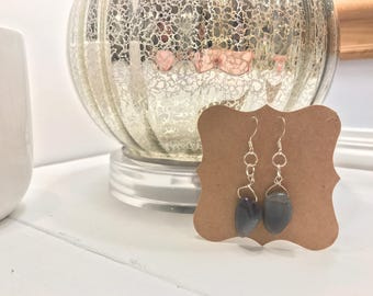 Gray stone drop earrings with silver accents