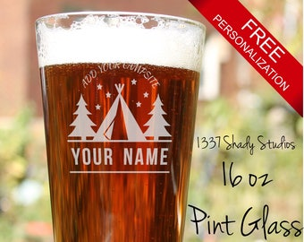 PINTGLASSES Laser Engraved with Customized Logo - Camping Gift Ideas, Hiking/Camping Gift, Custom Camping Gift - Camping Design 8