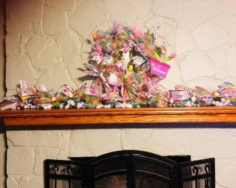 Spring wreath and matching garland