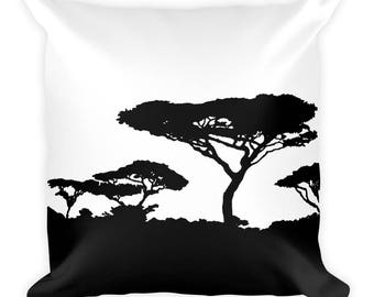 Black and White Square Pillow, Forest landscape Cushion Cover, African Tree Print Pattern, Modern Accent Pillow, Throw Pillow, 18x18 inch