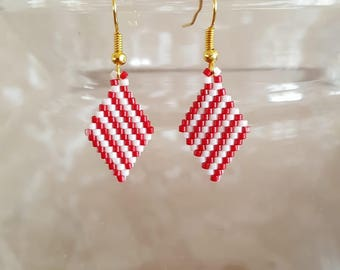 Earrings beads Miyuki red and white striped