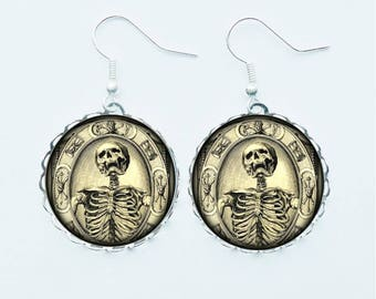 Skeleton Skull Earrings Pendant Necklace Ring or Pin Badge Brooch Medical Anatomy Macabre Grotesque Chilling Gothic Spooky Jewelry Jewellery