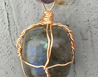 Wire Wrapped Labradorite Pendant Necklace