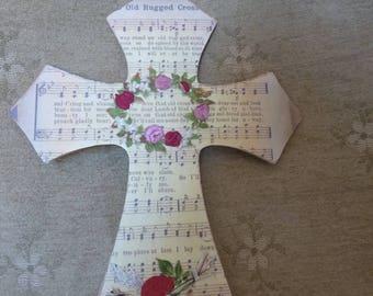 Old Rugged Cross, wall cross, sheet music, silk flowers