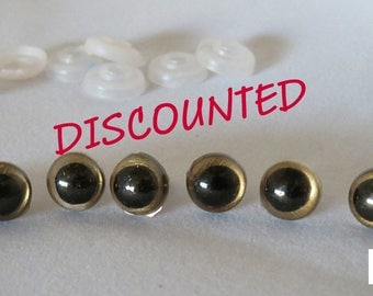 10mm Gold Iris Black Pupil Round Safety Eyes and Washers: 8 Count/ 4 Pairs - Dolls / Amigurumi / Animals / Stuffed Creations