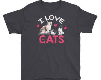I Love Cats-Crazy Cat Lady-Cat Lover-Cat Lover Gift-Cat-Cats-Cat Gift-Cat Shirt-Meow-Gift For Her-T-Shirt-cat Youth Tshirt-cat lover kid shi