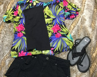 80's VINTAGE FLORAL button-up T-SHIRT blouse