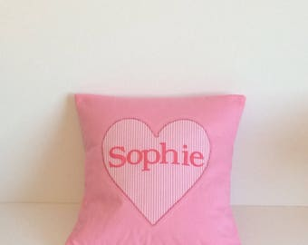 Personalised cushion cover . Baby girl . Name cushion . Star cushion cover . Pink . Nursery decor . Decorative cushion .