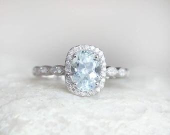 Solid 14k white Gold Ring Aquamarine Ring Aquamarine Engagement Ring Diamond Aquamarine Wedding Ring Anniversary ring  March birthstone