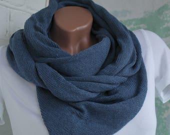 Grey blue minimalist scarf Minimalist scarf  Minimalist shawl Grey blue linen minimalist shawl Knitted scarf Knitted shawl Eco cotton scarf