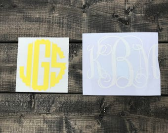 Monogram Decal/ Vinyl Decal/ Yeti Decal/ Computer Decal/ Cute Sticker/ Custom/ Ipad/ Iphone/ Tumbler