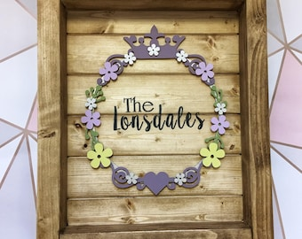 Large rustic personalised frame picture board frame Name surnames or quote